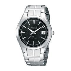Pulsar® Mens Black Dial Stainless Steel Bracelet Watch PXH913