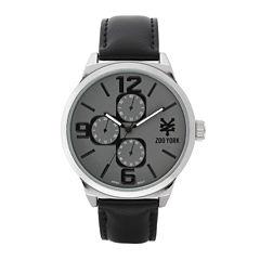 Zoo York® Mens Silver-Tone Black Strap Watch