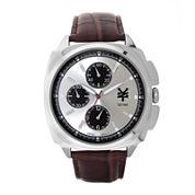 Zoo York® Mens Silver-Tone Brown Strap Watch