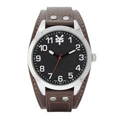 Zoo York® Mens Black Silver-Tone Brown Strap Watch
