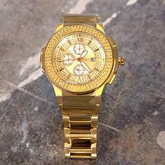 JBW Saxon Mens 1/6 CT. T.W. Diamond Gold-Tone Stainless Steel Watch JB-6101-D