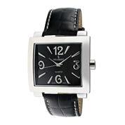 Peugeot® Womens Silver-Tone Black Calfskin Strap Watch