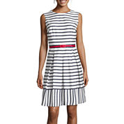 Liz Claiborne® Sleeveless Belted Striped Fit-and-Flare Dress