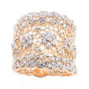 Jardin Rose-Tone Crystal Wide Floral Filigree Pave Ring