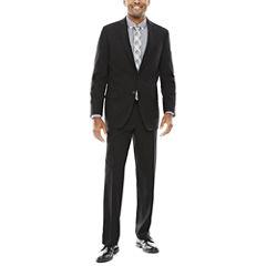 Claiborne Stretch Black Grid Suit-Classic Fit