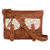 Arizona Double-Pocket Crochet Trim Crossbody Bag
