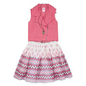 Total Girl Belted Skater w/Moto Vest & Necklace - Girls' 7-16 and Plus