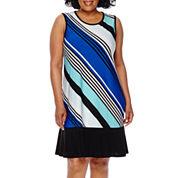 Blu Sage Sleeveless Diagonal Stripe Flip Flop Dress