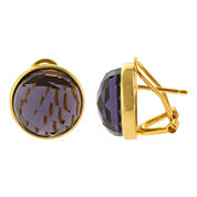 ATHRA Purple Glass Stone Round Earrings