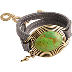 Art Smith by BARSE Green Turquoise Leather Wrap Bracelet
