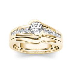 1/2 CT. T.W. Diamond 14K Yellow Gold Bridal Ring Set
