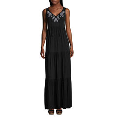 St. John's Bay Sleeveless Embroidered Tiered Maxi Dress-Petites