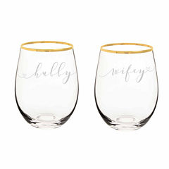 Cathy's Concepts Hubby And Wifey 4-pc. Wine Glass