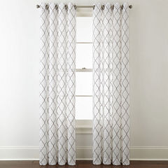 JCPenney Home Bayview Embroidery Sheer Grommet-Top Curtain Panel