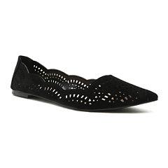 Qupid Pika Black Cutout Ballet Flats