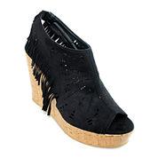 Olivia Miller Fringe Wedge Sandals