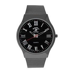 Beverly Hills Polo Club Mens Gunmetal Mesh Strap Watches