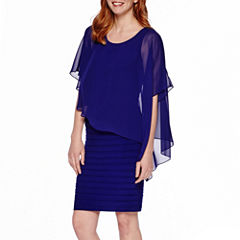 Scarlett Sleeveless Cape Sheath Dress