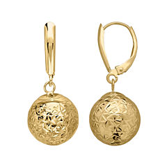 Infinite Gold™ 14K Yellow Gold Crystal Cut Drop Earrings
