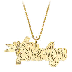 Disney Personalized Tinker Bell 15x31mm Name Necklace