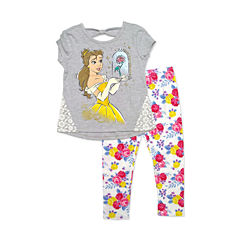 Disney By Okie Dokie 2-pc. Beauty and the Beast Legging Set-Preschool Girls