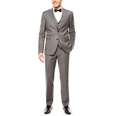 JF J. Ferrar Stretch Gray Sharkskin Suit Separates-Slim