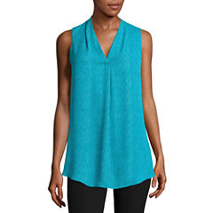 Worthington Sleeveless V Neck Georgette Blouse
