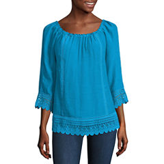Alyx Elbow Sleeve Round Neck Gauze Blouse
