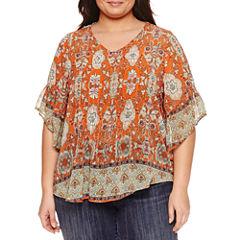 Unity World Wear 3/4 Sleeve V Neck Woven Blouse-Plus