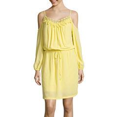 Bisou Bisou® 3/4-Sleeve Cold-Shoulder Blouson Dress