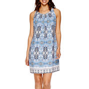 Worthington® Sleeveless Pleat-Neck Shift Dress