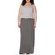 St. John's Bay® Sleeveless Popover Maxi Dress - Plus