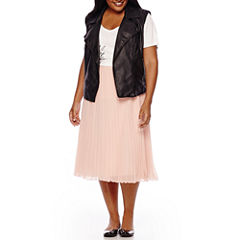 Boutique+ Moto Vest, Graphic Tee or Pleated Skirt - Plus