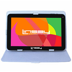 LINSAY® New 10.1'' Quad Core 1024x600HD 8GB Tablet with White Leather Protective Case