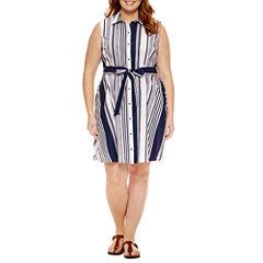 Liz Claiborne Sleeveless Shirt Dress-Plus