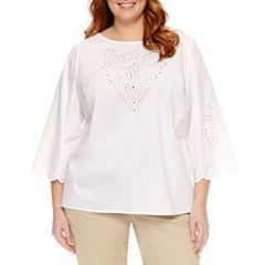 Liz Claiborne 3/4 Sleeve Scoop Neck Woven Blouse-Plus