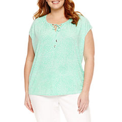 Liz Claiborne Sleeveless Crew Neck T-Shirt-Plus