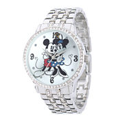 Disney Mickey/Minnie Mouse Womens Crystal-Accent Silver-Tone Bracelet Watch