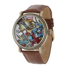 Marvel® Vintage Captain America Mens Brown Leather Strap Watch
