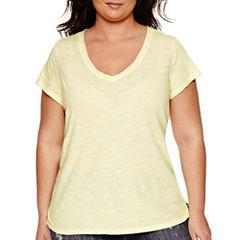 a.n.a® Short-Sleeve V-Neck Cotton Tee - Plus