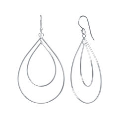 Silver Reflections™ Silver-Plated Openwork Double-Pear Drop Earrings