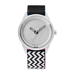 Q&Q SmileSolar White/Black Zigzag Strap Watch