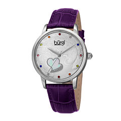 Burgi Womens Multicolor Crystal Purple Leather Strap Watch