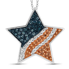 1/4 CT. T.W. White and Color-Treated Red & Blue Diamond Star Flag Pendant