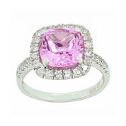 Lab-Created Pink & White Sapphire Sterling Silver Halo Ring