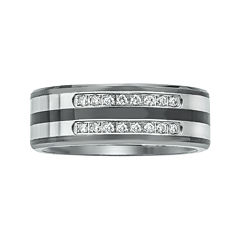 Mens 1/5 CT. T.W. Diamond Ceramic, Tungsten and Stainless Steel Band Ring