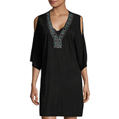 a.n.a Solid Rayon Swimsuit Cover-Up Dress