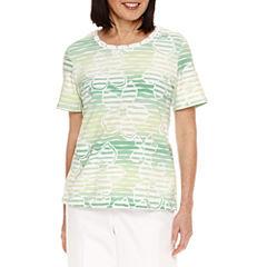 Alfred Dunner Bahama Bays Short Sleeve Floral T-Shirt