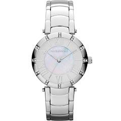 Liz Claiborne® Womens Silver-Tone Mother-of-Pearl Bracelet Watch