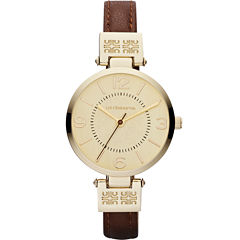 Liz Claiborne® Womens Gold-Tone Watch with Skinny Leather Strap